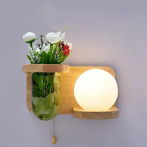 ZYY Moderne Einfachheit Schlafzimmer Nachttischlampe Holz Wandlampe mit Zugschalter Runde Glaskugel Anlage Wandleuchte Wandlampen Dekorative Kinder Wand Wohnzimmer Balkon Treppe (Größe: Rechte Seite) (Anlage-wandleuchte)