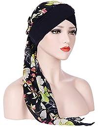 Dicomi Damen Muslimisches Kopftuch L/ässig Mode Volltonfarbe Elastisches Stirnkreuz und Chiffon-langschw/änziger Turban Frauen Kopftuch Hut