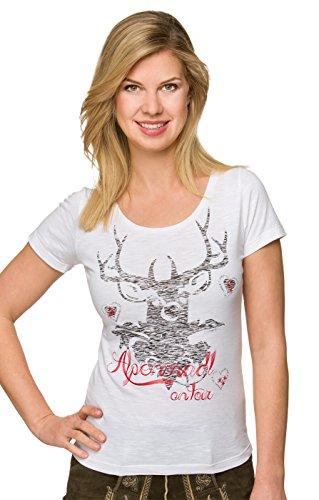 Stockerpoint Trachten T-Shirt Lia - ausdrucksstarkes Damen T-Shirt mit vielen Applikationen, ein besonderes Trachtenshirt für Frauen mit Liebe zur Trachtenmode in Weiß