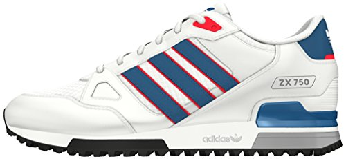 adidas Zx 750, Chaussures de Sport Mixte Adulte Blanc (Ftwr White/Unity Blue/Ray Red)