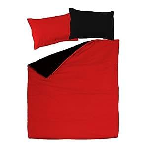 Black & Red - SoulBedroom 100% Cotton Reversible Bed Set (Duvet Cover 200x200 & 2 Pillow Cases 50x75 cm) (Double)