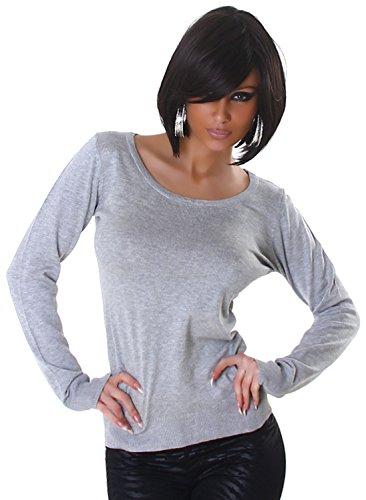 Jela London Damen Pullover mit Spitzeneinsatz einfarbig Einheitsgröße (32-36), grau