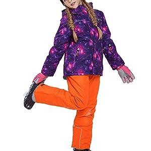 OMSLIFE Mädchen Kinder Skianzug Skijacke Regenlatzhose Verdickung Schneeanzug Jacket Winddicht Winter Skianzüge Kinder Schneeanzug Jacket Wintermantel Skianzug (Keine Handschuhe)