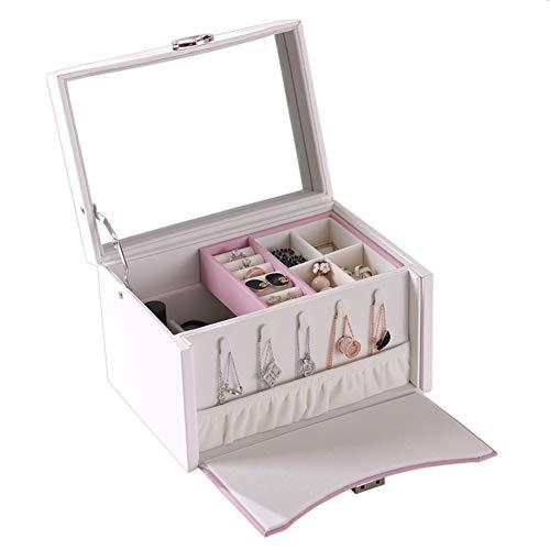 SXLJL Prinzessin Jewelry Box Portable Makeup Aufbewahrungsbox Frauen Schmuck Organizer Geschenk,Pink