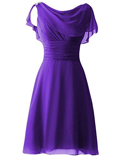 HUINI Perline paillettes Cap Sleeves Corto Ballo di fine anno Abiti da festa damigella d'onore Abiti formali Viola