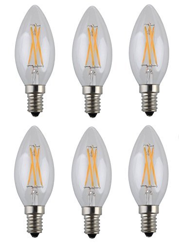 OBQ 4W LED Filament Candle Light Bulb,E14 Candelabra Base Lamp,C35 Torpedo Shape Bullet Top,40W Incandescent Replacement,2700K Warm White 400LM,Non-dimmable, 6 Pack -