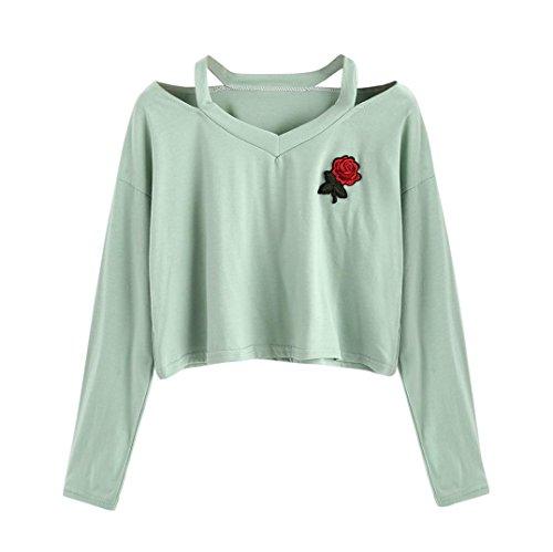 Amlaiworld Sweatshirts Rose Stickerei locker Sweatshirt Damen Blumen kurz Niedlich Pullover warm weich Herbst Pulli (L, D, Grün) (Niedliche Strampler Xl)