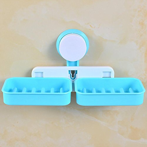 home-double-grid-sucker-wall-waterproof-soap-fashion-shuangge-soap-box-drain-water-plastic-soap-box-