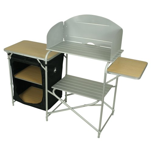 10T Kitchenette - Camping kitchen, 3 storage boxes + wind protection with extension cupboard, 2 compartments, 48x145x111 cm