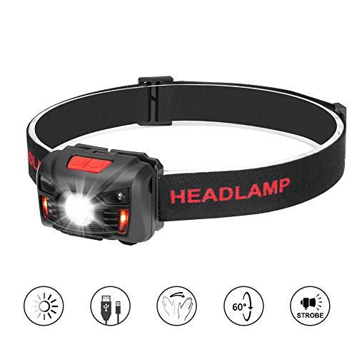 Winzwon LED Kopflampe LED Stirnlampe USB Wiederaufladbar LED Stirnlampen LED Kopflampen Kopfleuchten LED Headlight 5 Helligkeiten zu wahlen inklusive USB-Kabel Camping Wandern