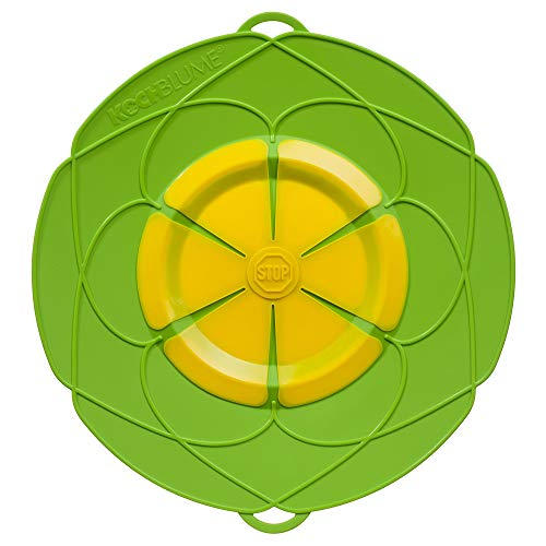 Kochblume XL 33 cm Silikon Limette Überkochschutz für Töpfe und Pfannen | Überkochstopp und Spritzschutz für Topfgrößen von Ø 20 bis 28 cm | Set mit Microfasertuch!