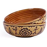 VarEesha Warli Ceramic Serving Bowl Set, Set Of 2, Brown