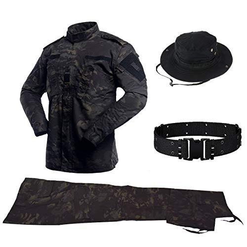Combat Hosen Camo (QHIU Taktischer Uniformen Herren Jacke&Hose Stück Sets mit Gürtel&Boonie Hat Military Combat BDU Camo für Airsoft Paintball Swat Camping Outdoor-Sportarten)