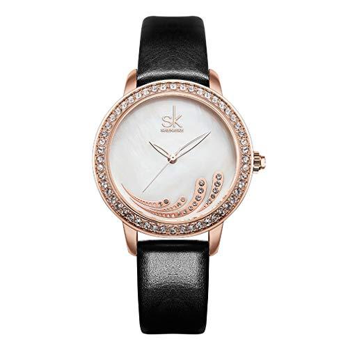 YuYaX watch Minima listische Armbanduhr Ultradünne für Männer Luxus Elegante Business Fashion Mens WatchWaterproof Casual Quarz UhrenPU Strap, ORO rosa (Uhren Oro Männer)