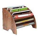 Freedom Fächerförmiger Aufbewahrungsbehälter aus Holzgeschirr, Aufbewahrung mit sechs Schichten Platzsparend Abnehmbarer, robuster 33,5 * 27 * 27cm,Cherrywood