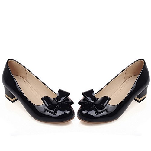 BalaMasa, punta arrotondata, da donna, in pelle, per scarpe Imitated pompe Black