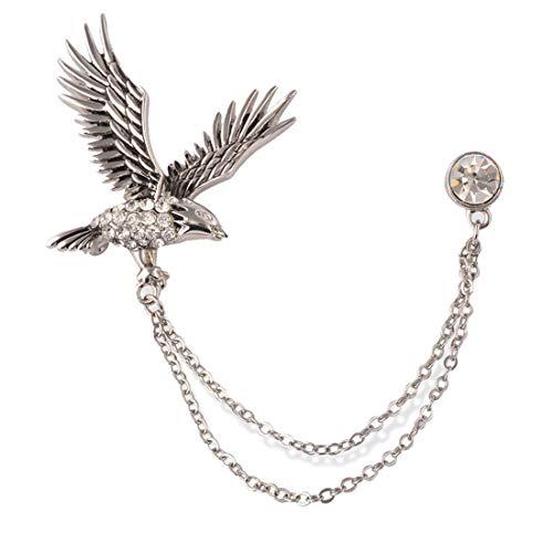 SevenAndEight S&E Herren Brosche Strass Kette Kleid Ornament Silber Brosche mit Kette (Adler)
