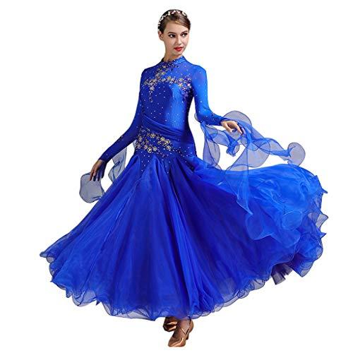 Kostüm Damen Standardtanz - CX Modern Dance Rock National Standard Standardtanz Erwachsene Damen Kleid Kostüme (Farbe : Lake Blue, größe : S)