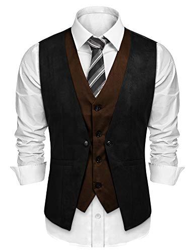 Burlady Herren Western Weste Herren Anzug Weste Slim Fit Gilet Business Anzugweste für Herren (S, E-Schwarz) -