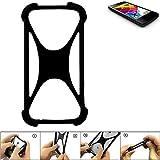 K-S-Trade Handyhülle für Mobistel Cynus E4 Schutz Hülle Silikon Bumper Cover Case Silikoncase TPU Softcase Schutzhülle Smartphone Stoßschutz, schwarz (1x)