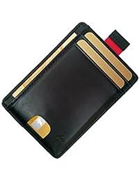 FreeHaveFun Leder RFID Blocker Kreditkartenetui | Slim Wallet | Mini Geldbörse | kleines Portemonnaie | schmaler NFC Geldbeutel | Herren Damen Kartenetui | dünner Kartenhalter | Minimalist Brieftasche