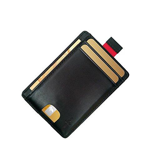 FreeHaveFun Leder RFID Blocker Kreditkartenetui | Slim Wallet | Mini Geldbörse | kleines Portemonnaie | schmaler NFC Geldbeutel | Herren Damen Kartenetui | dünner Kartenhalter | Minimalist Brieftasche (Leder Card Wallet)