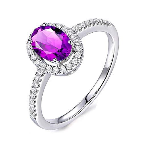 DOLOVE Schmuck Ringe Damen Ring 925 Sterling Silber Ringe Amethyst Ring Jahrestag Eheringe Oval Hochzeitsringe Größe 59 (18.8)