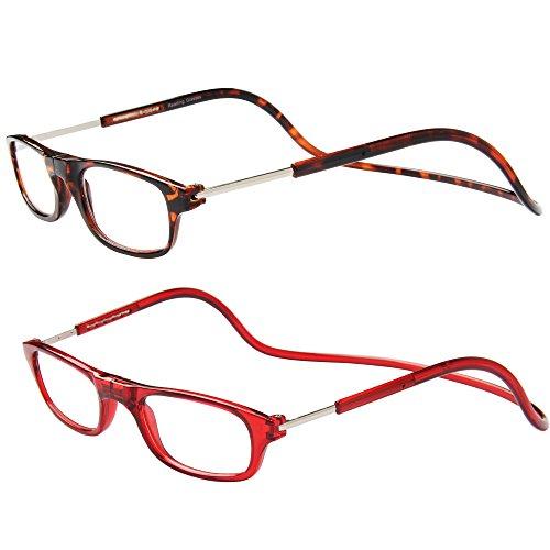 Jee gafas de lectura hombre mujer reading glasses con iman OL02(leopardo+rojo,+1.50)