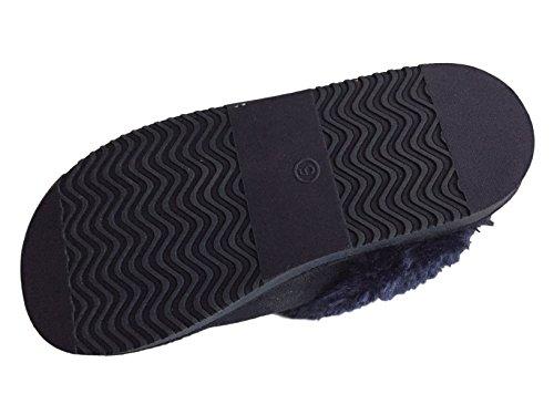 Da Donna, Elegante Jyoti Pantofole con Risvolti In Pelliccia e Dettaglio Bottone 3 4 5 6 7 8 UK Navy2