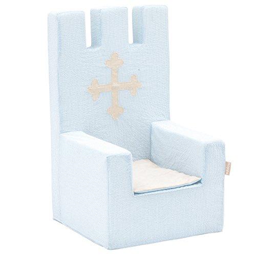 Hoppe Kids Fairytale Knight Roi Mousse, Chaise avec accoudoirs, 100% Coton certifié Ökotex, Plastique, Helblau, 60 x 40 x 60 cm