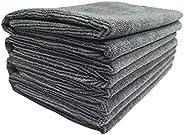 SOFTSPUN Microfiber Cloth 40x60 Cms, 4 Piece Towel Set, 340 GSM (Grey) Multi-Purpose Super Soft Absorbent Clea
