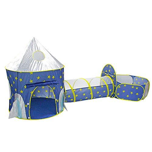 Volwco Space Tienda de campaña para niños con túnel, casa de Juegos para niños y niñas, bebés y niños pequeños en Interiores y Exteriores (Bolas no Incluidas)