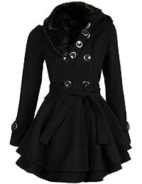 Laeticia Dreams Damen Mantel Jacke Winterjacke Mantel mit Fellkragen S M L XL XXL
