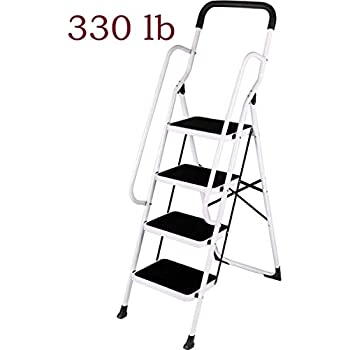 Keraiz Step Ladders Folding Step Stool With Hand Grip Non