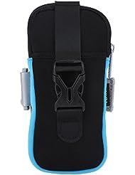 Bolsa Brazalete - Bolsillo Multifuncational de Brazo Muñeca para Teléfono Correr Ciclismo Deportes ( Color : Black Blue )