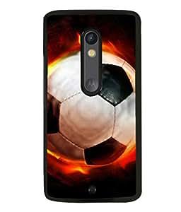 printtech Flaming Football Back Case Cover for Motoroal Moto X Play