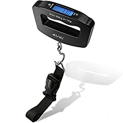aLLreLi Digital LCD luggage scale with strap, hook and batteries (10g - 50kg) (gram, oz, kg, lb units)