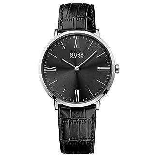 Hugo Boss 1513369 – Reloj analogico para hombre con mecanismo de cuarzo, de acero inoxidable con correa de piel,  negro