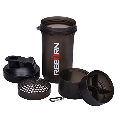 Thrifty Shopper 500 Ml Protein Shaker Gym Bottle With 2 Storage Compartments Cups
