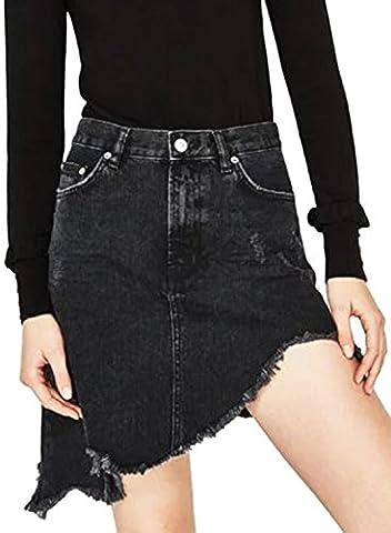Azbro Women's Fashion Asymmetrical Denim Skirt with Tassel, Black S