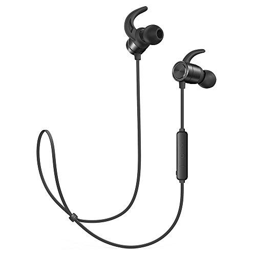 TaoTronics Bluetooth Kopfhörer 4.1 In Ear Kopfhörer 9 Stunden Spielzeit IPX6 Wasser- & Schweißgeschützt CNC-Verarbeitung unterstützt OTG-Laden kompatibel mit Android IOS Geräten (In-ear-kopfhörer Mit Ear Clips)