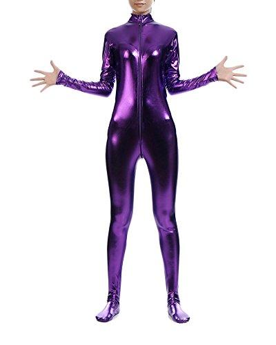 Catwoman Kostüm Overallkostüm Ganzanzug Ganzkörperanzug Catlady Catsuit Violett L (Spandex-catwoman-kostüm)