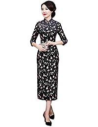 9468dfeacd73 Hzjundasi Cheongsam Vintage in Velluto da Donna - Modello Floreale Qipao  Slim Elegante Lungo Abito Tradizionale