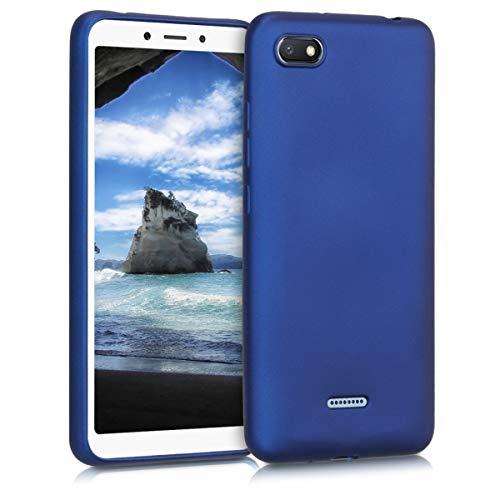 kwmobile Funda para Xiaomi Redmi 6A - Carcasa para móvil en TPU Silicona - Protector Trasero en Azul Metalizado