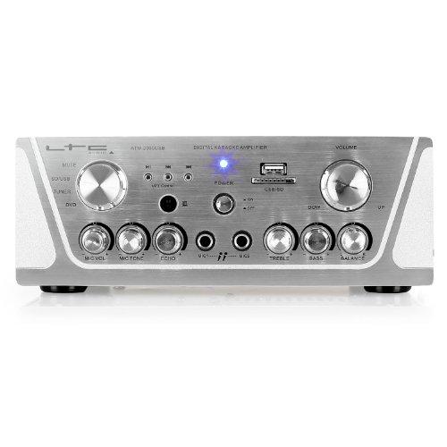 Imagen 2 de LTC Audio ATM 2000 USB - Amplificador stereo karaoke (USB, 2 x MIC, 3 x LINE, incluye mando a distancia), plateado