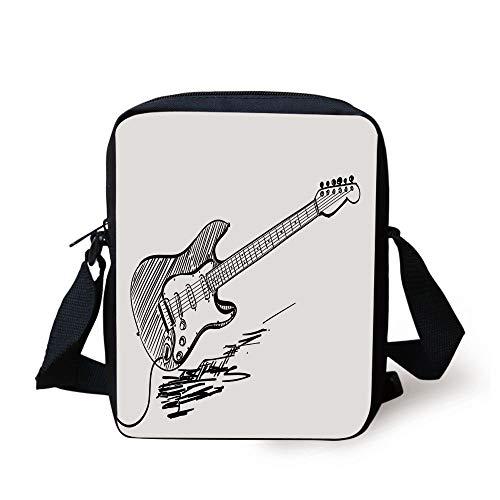 Guitar,Hand Drawn Style Electric Guitar on White Backdrop Rock Music Accords Sketch Art Decorative,Black White Print Kids Crossbody Messenger Bag Purse -