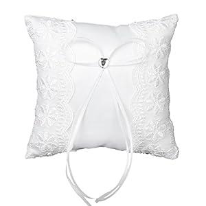 Gleader Tasche Ring Kissen Weiss Spitze verziert Ehering Hochzeit Ringkissen 15cmx15cm