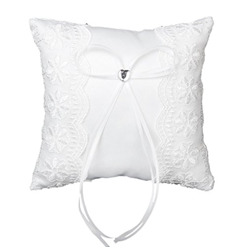 Gleader Lace Embellished Wedding Ring Pillow Cushion Bearer 15 x 15CM---White