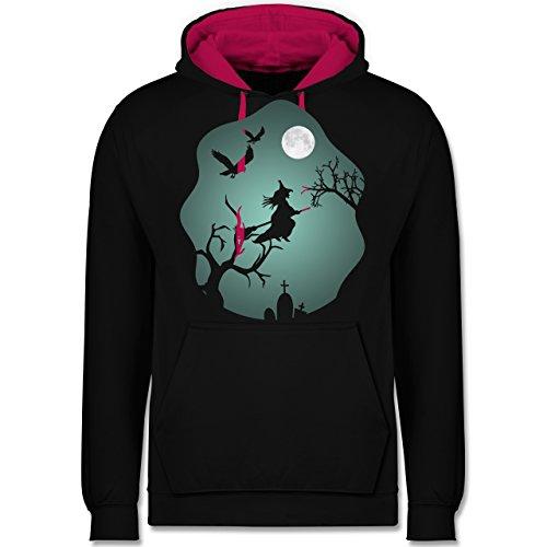 Die Halloween Kostüm Vögel (Halloween - Hexe Mond Grusel Grün - XXL - Schwarz/Fuchsia - JH003 - Unisex Damen & Herren Kontrast)