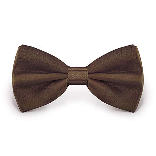 StickandShine Fliege Braun Größe verstellbar aus Polyester einfarbig uni schmale 12 cm